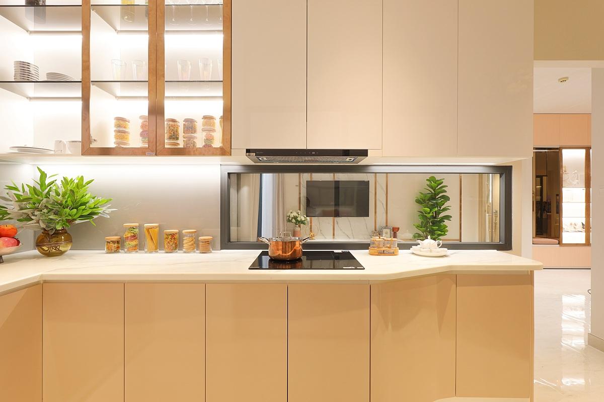 Thiết kế độc đáo của gian bếp thể hiện sự chăm chút tỉ mỉ của nhà phát triển. Ảnh phối cảnh: DHA Corporation.