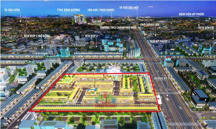 Phối cảnh khu đô thị BenCat City Zone tọa lạc ngay trung tâm thị xã Bến Cát.