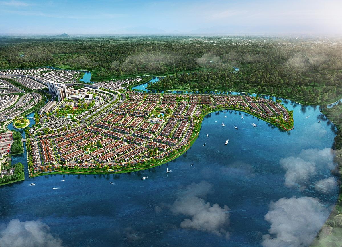Thế đất đặc biệt của đô thị Đảo Phượng Hoàng tượng trưng cho sự trù phú, thịnh vượng. Ảnh phối cảnh: Novaland.