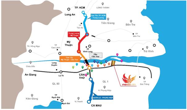 Fenix City có vị trí thuận lợi khi nằm trên cung đường huyết mạch Nam Sông Hậu (rộng 80m) kết nối trung tâm TP Cần Thơ trong 15 phút.