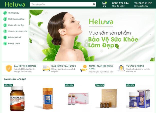 Giao diện chính thức của nền tảng thương mại Heluva.vn.