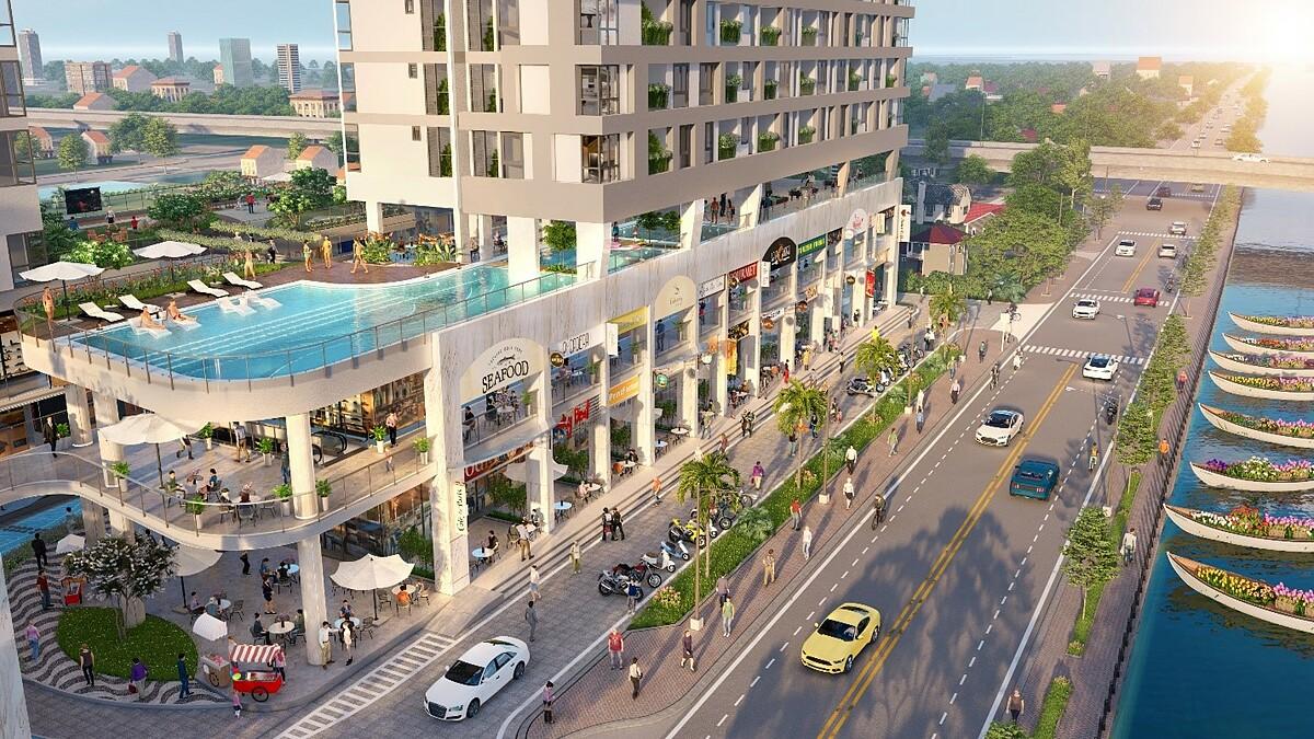 Phố chợ thương mại tại D-Aqua với thiết kế bắt mắt, sinh động. Ảnh phối cảnh: DHA Corporation.