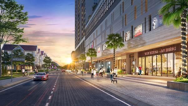 Dãy shophouse khối đế The Terra – An Hưng tiếp giáp với khu đô thị An Hưng và Dương Nội đông đúc.
