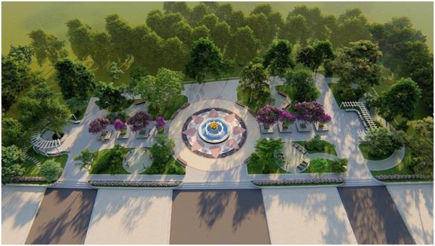 Phối cảnh tổng thể công viên Tân Hòa rộng hơn 2.700m2.