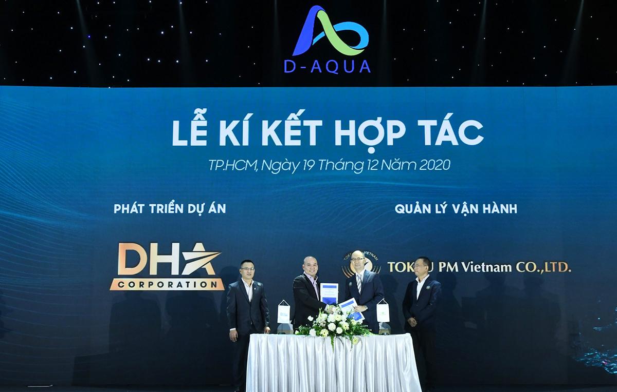 Đại diện DHA Corporation ký kết hợp tác cùng các đối tác về xây dựng, đồng hành về tài chính, quản lý vận hành dự án D-Aqua. Ảnh: DHA Corporation.