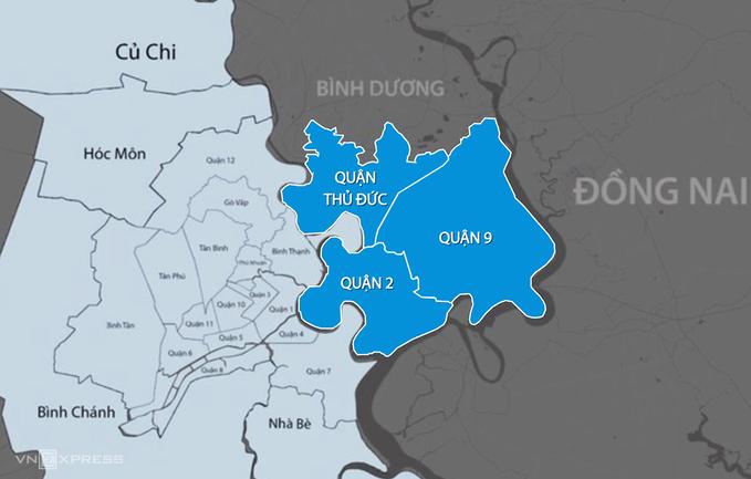 TP Thủ Đức (phần màu xanh dương) gồm các quận: 2, 9, Thủ Đức. Ảnh đồ họa:Thanh Huyền.