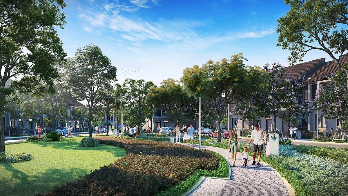 Chủ đầu tư thiết kế công viên nội khu rộng khoảng 2.000 m2 dành riêng cho cư dân Topaz Town. Ảnh phối cảnh: Đất Xanh.