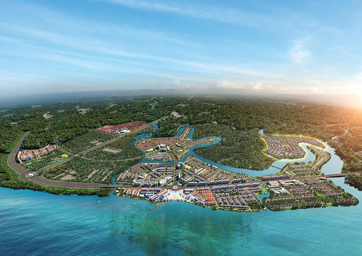 Đô thị đảo Phượng Hoàng thuộc Aqua City được đánh giá cao nhờ vị trí kết nối chiến lược khi tọa lạc tại tâm điểm kết nối liên vùng phía Nam. Ảnh: Novaland.