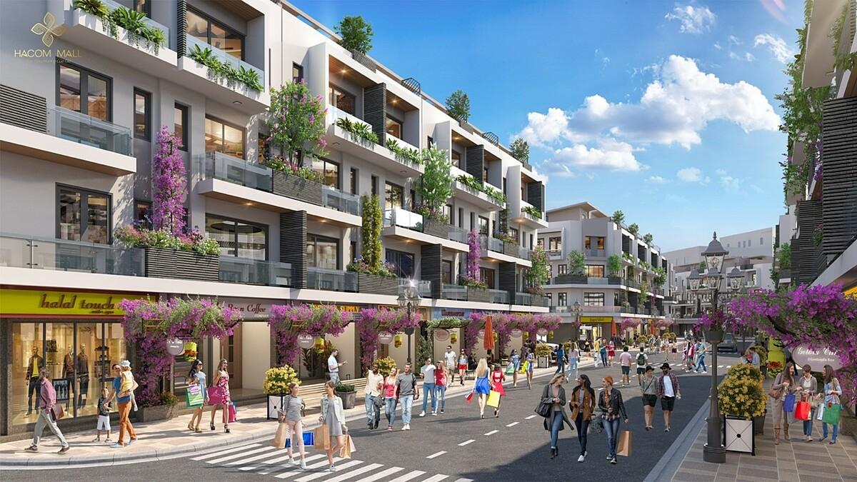 Các căn shophouse tại Hacom Mall sở hữu lợi thế vừa đầu tư vừa an cư. Ảnh phối cảnh: Thành Đông Ninh Thuận.