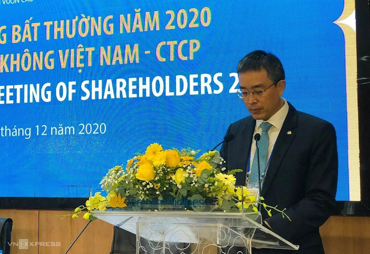 Chủ tịch Vietnam Airlines, Đặng Ngọc Hoà thông tin về kết quả kinh doanh của hãng năm 2020. Ảnh: Anh Tú