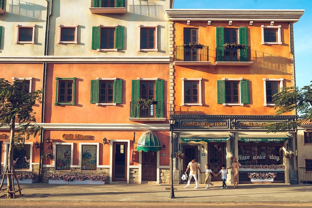 [Những con phố mua sắm tại thị trấn Địa Trung Hải Sun Premier Village Primavera. Ảnh: Sun Group.