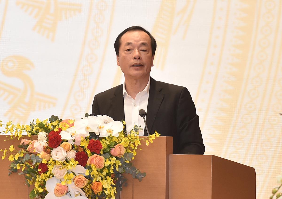 Bộ trưởng Phạm Hồng Hà phát biểu tại hội nghị sáng 29/12. Ảnh: VGP.