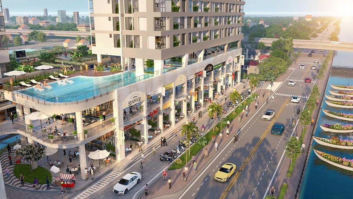 D-Aqua nằm ngay trên Bến Bình Đông với 125 m mặt tiền sông nước cùng bến hoa Tết trước cửa, tạo vẻ đẹp riêng và hứa hẹn thu hút lượng khách lớn cho shophouse dự án. Ảnh phối cảnh: DHA Corporation.