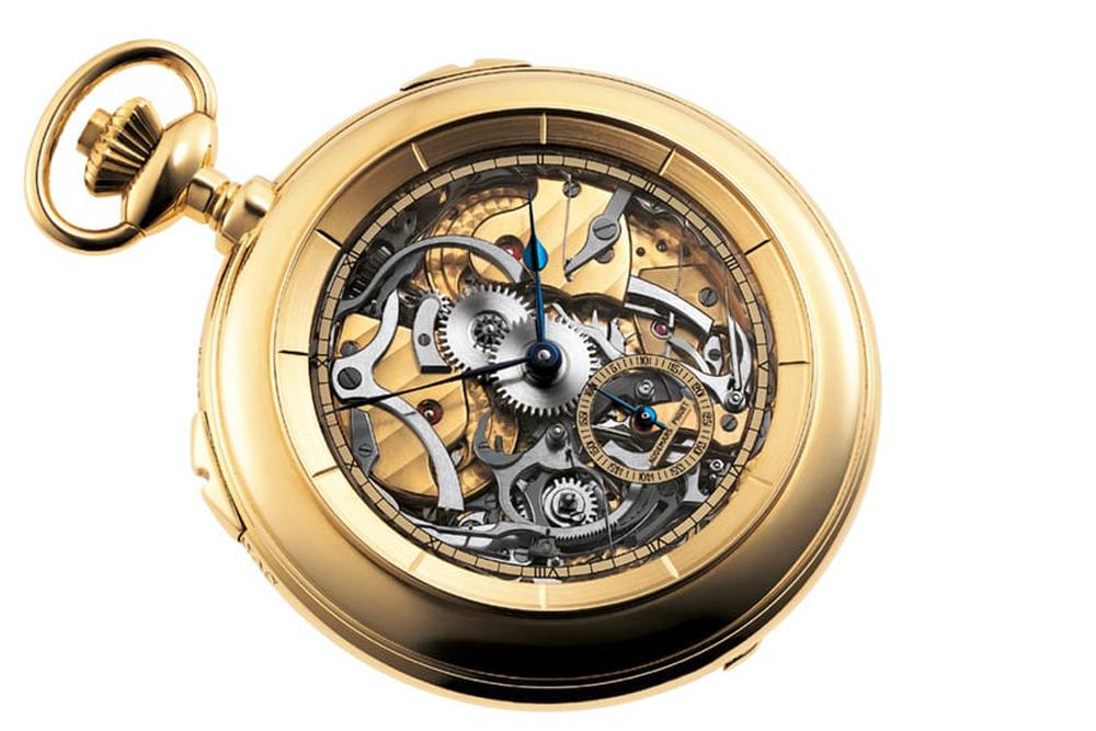 Đồng hồ bỏ túi Grande Sonnerie bằng vàng với mặt số và mặt sau bằng Sapphire do Philippe Dufour chế tác cho Audemars Piguet vào năm 1987.
