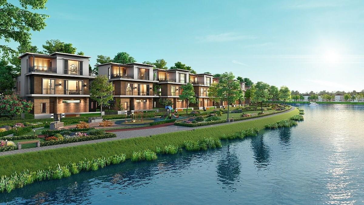 Sắc xanh sông nước thiên nhiên trong không gian sống đẳng cấp mang lại cảm giác thư thái, an yên cho cư dân Aqua City. Ảnh phối cảnh: Novaland.