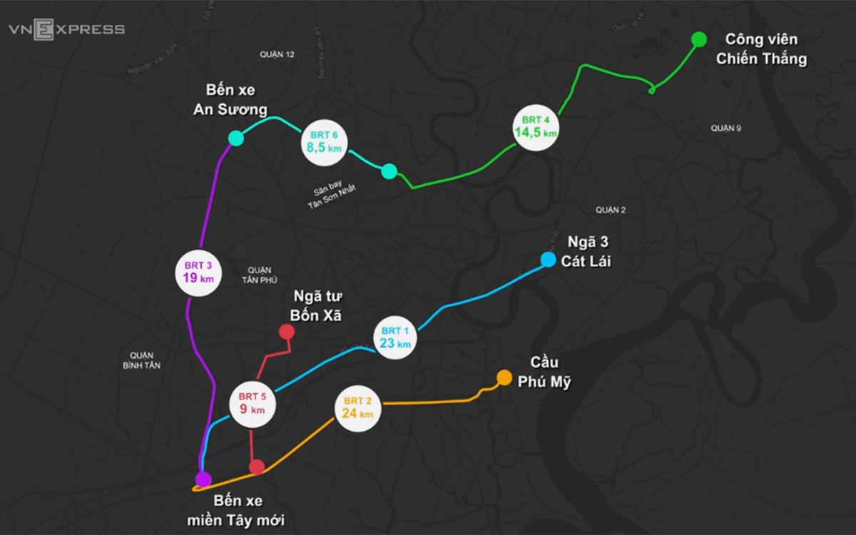 Sơ đồ các tuyến buýt nhanh BRT tại TP HCM, trong đó tuyến BRT 1 đi ngang trung tâm hành chính Bình Chánh. Đồ họa: VnExpress.