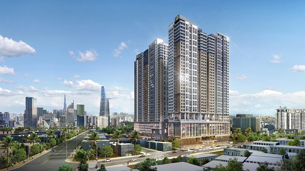 Dự án tổ hợp căn hộ - khách sạn quốc tế The Grand Manhattan tọa tại 100 Cô Giang, quận 1. Ảnh phối cảnh: Novaland.
