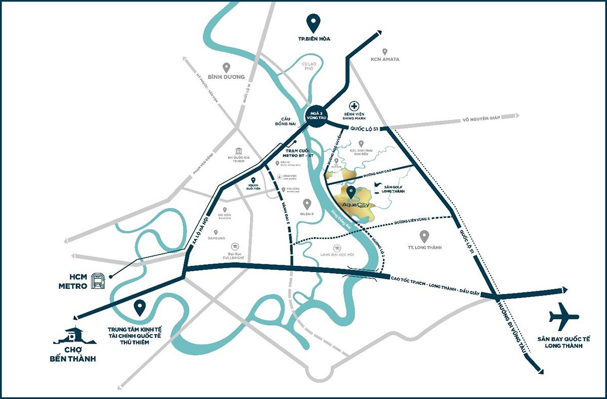 Aqua City sở hữu vị trí đắc địa tại khu vực phía Đông TP HCM.