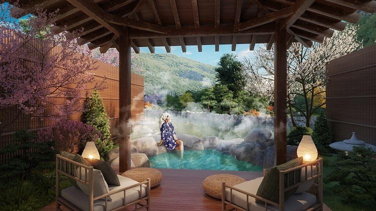 Bể tắm tại Sun Onsen Village Limited Edition đem lại giây phút thư giãn.
