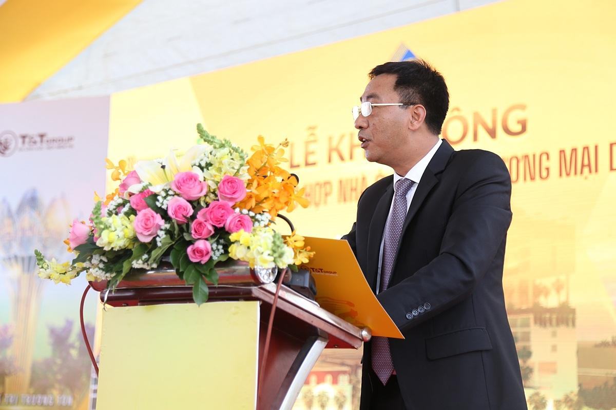 Ông Nguyễn Anh Tuấn - Phó TGĐ Tập đoàn T&T Group phát biểu tại lễ khởi công dự án Khu phức hợp nhà ở kết hợp thương mại dịch vụ tại TP Long Xuyên.