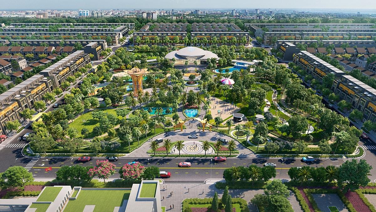 Khu công viên Gem Sky Park rộng ba ha tại khu đô thị 92 ha Long Thành. Ảnh phối cảnh: Đất Xanh.