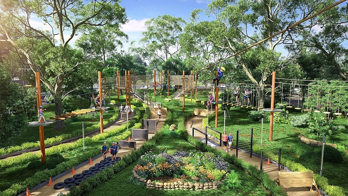 Tổ hợp trò chơi Adventure Forest của Gem Sky Park được đầu tư bài bản theo tiêu chuẩn quốc tế sau khi hoàn thiện sẽ là điểm nhấn mới cho toàn khu công viên ba ha. Ảnh phối cảnh: Đất Xanh.