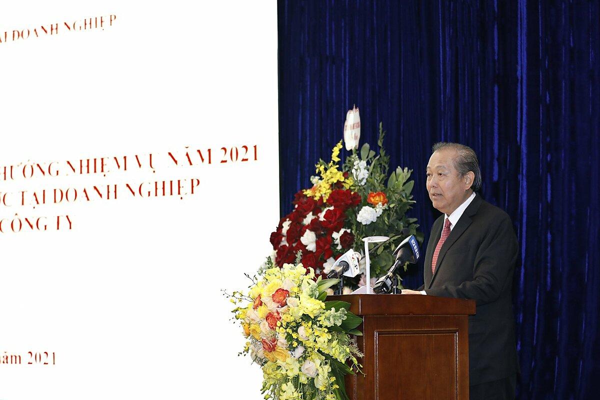 Phó thủ tướng Trương Hoà Bình phát biểu chiều 11/1. Ảnh: VGP/Lê Sơn.