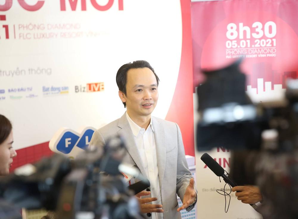 Ông Trịnh Văn Quyết, Chủ tịch FLC trả lời phỏng vấn bên lề một Hội thảo về bất động sản mới đây tại Vĩnh Phúc