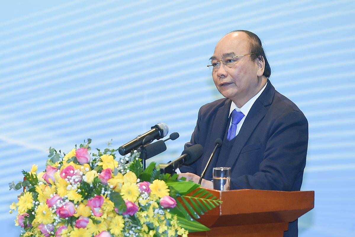 Thủ tướng Nguyễn Xuân Phúc phát biểu tại Hội nghị tổng kết của PVN. Ảnh: VGP.