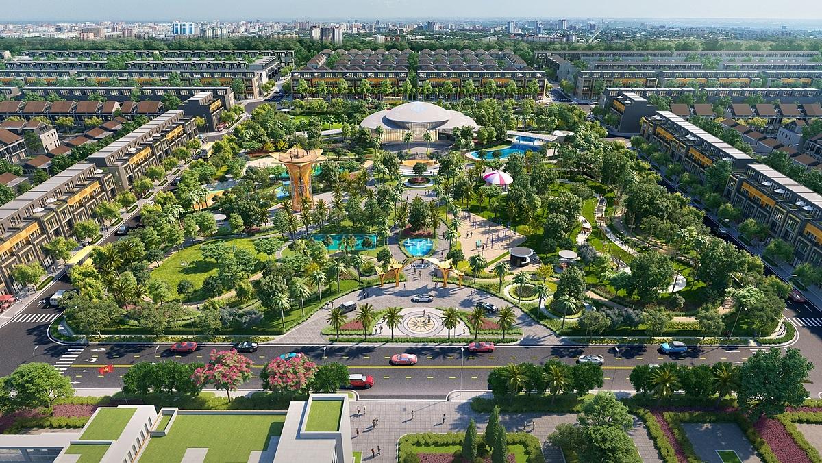 Tập đoàn Đất Xanh cùng chủ đầu tư Hà An làm nóng thị trường Long Thành với dự án Gem Sky World. Ảnh phối cảnh: Tập đoàn Đất Xanh.