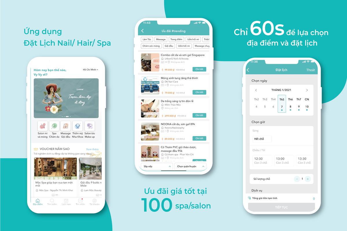 Chỉ mất 60 giây, người dùng có thể lựa chọn spa, salon, địa điểm và đặt lịch phù hợp.