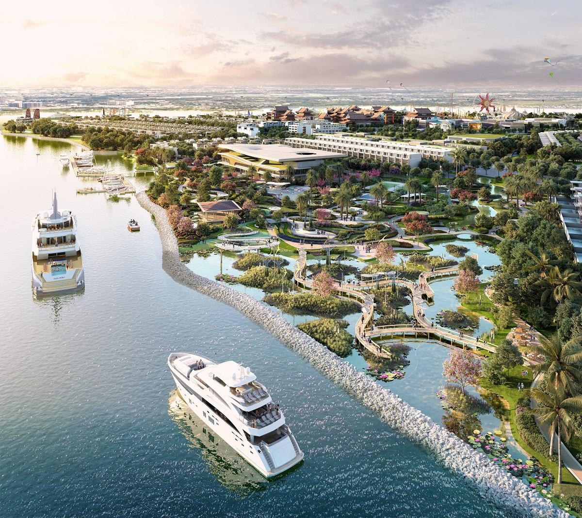 Chủ đầu tư xây dựng bến đỗ du thuyền Angel Bay rộng 3.000 m2. Ảnh phối cảnh: Sông Tiên.