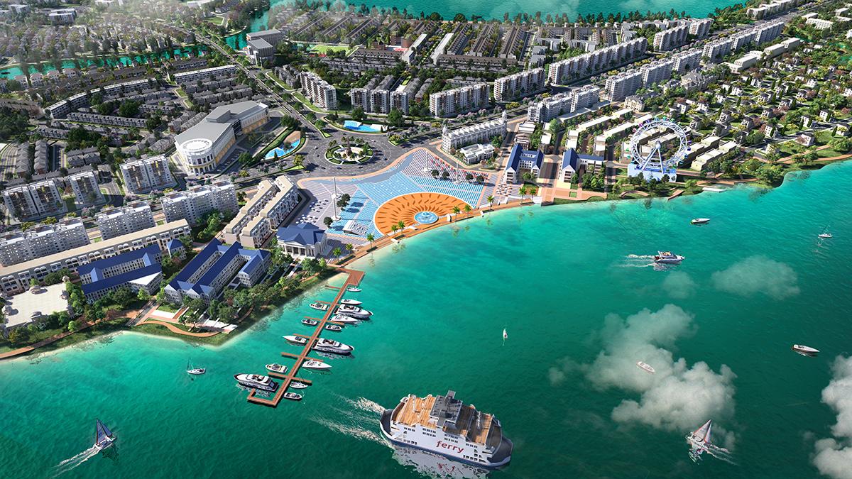 Phối cảnh chuỗi tiện ích nội khu đẳng cấp được quy hoạch đồng bộ tại Aqua City