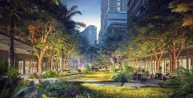 Các loại cây được tuyển chọn kỹ lưỡng phù hợp từng không gian sống. Ảnh phối cảnh: Masterise Homes.