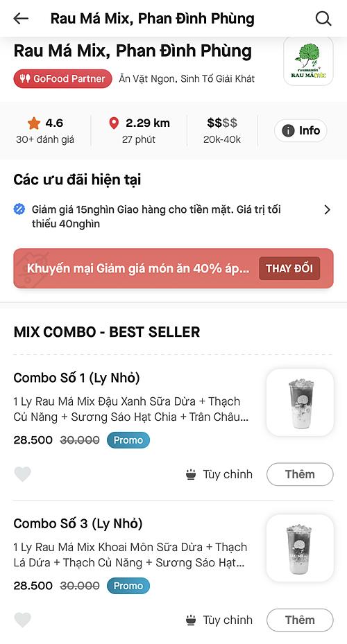 Rau Má Mix nhanh chóng triển khai mô hình bán online phù hợp xu hướng thị trường. Ảnh chụp màn hình Gojek.