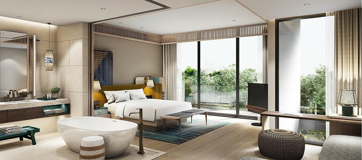 Phối cảnh nội thất phòng ngủ biệt thự ba phòng ngủ. Ảnh phối cảnh: IFF Holdings.