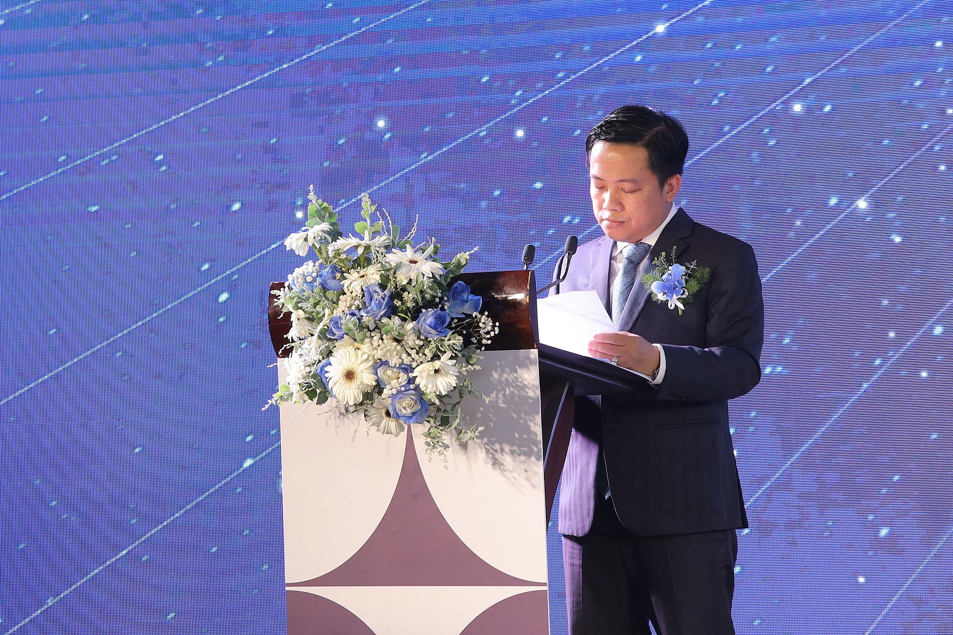 Ông Lê Minh Tâm phát biểu trong buổi lễ ký kết đối tác chiến lược của dự án Vega City Nha Trang. Ảnh: Vega City.