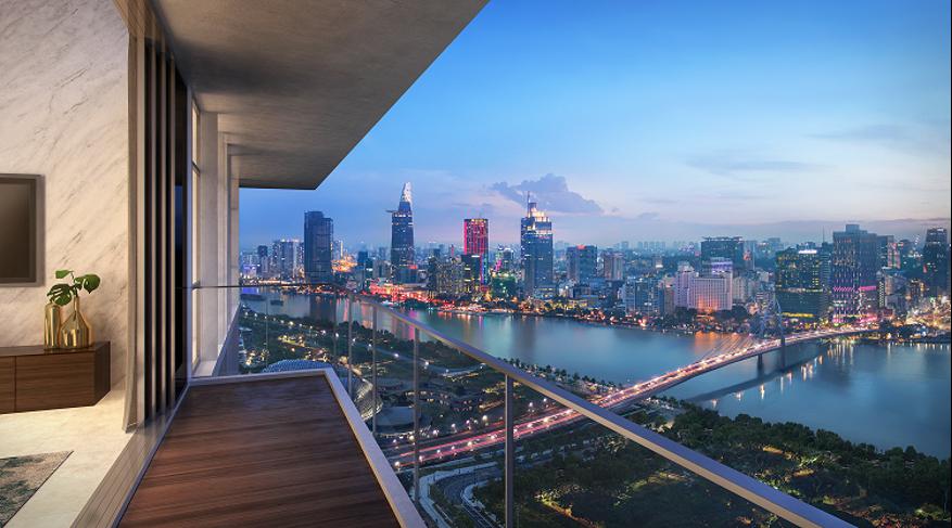 Tầm nhìn hướng ra sông tại căn hộ The Crest Residence.