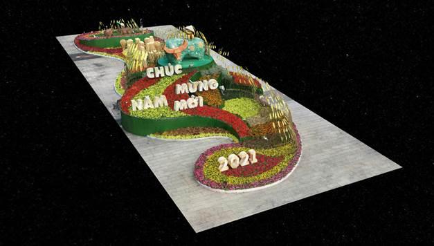 Đại cảnh cổng kết đường hoa Nguyễn Huệ được số hóa thành bản đồ 3D.