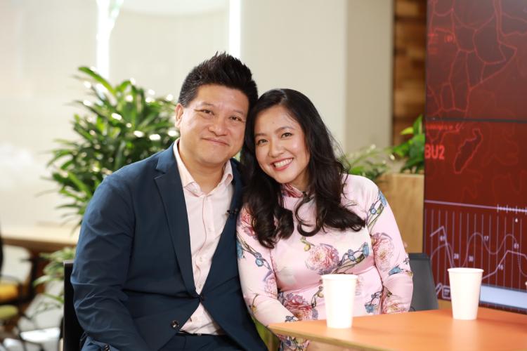 Vợ chồng doanh nhân Vũ Xuân Sơn (Sonny Vũ) và Lê Diệp Kiều Trang.