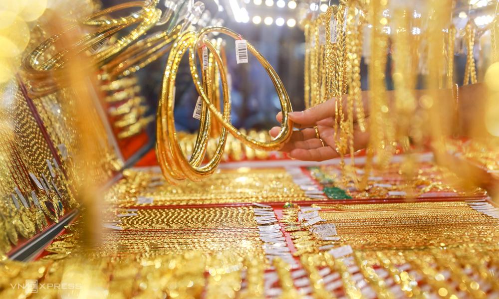 Vàng trang sức trưng bày tại một cửa hàng tại quận Bình Thạnh, TP HCM. Ảnh: Quỳnh Trần.