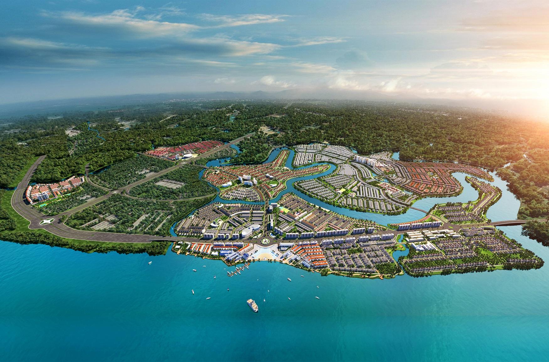 Nằm trong vùng xanh sinh thái của Aqua City, đảo Phượng Hoàng sở hữu thế đất giàu vượng khí và quy hoạch tiện ích thỏa mãn giá trị sống khỏe thể chất lẫn tinh thần. Ảnh phối cảnh: Novaland.