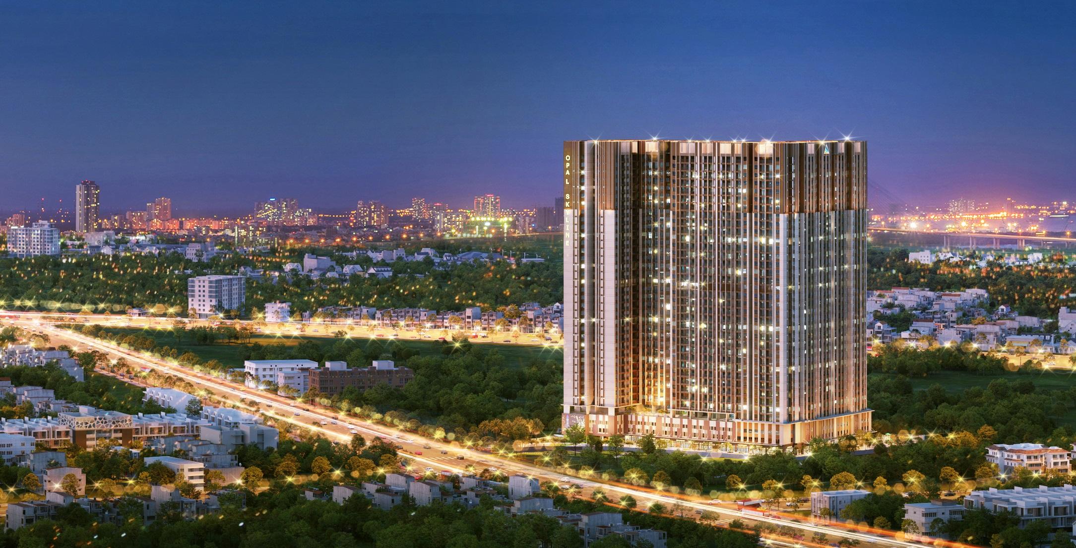 Tọa lại tại trung tâm thành phố trẻ Thuận An, Opal Skyline thừa hưởng tiềm năng mà vị thế nơi đây đem lại. Ảnh phối cảnh: Tập đoàn Đất Xanh.