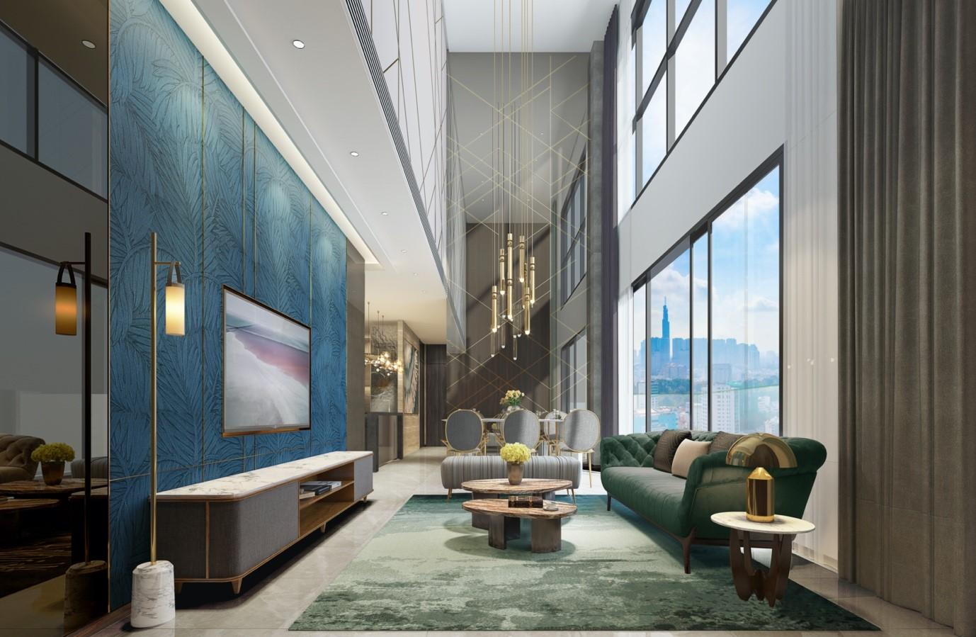 Không gian phòng khách căn hộ 4 phòng ngủ tại The Marq với chiều cao trần tới 6,9 m cùng tầm nhìn hướng trung tâm thành phố. Ảnh phối cảnh: Hongkong Land.