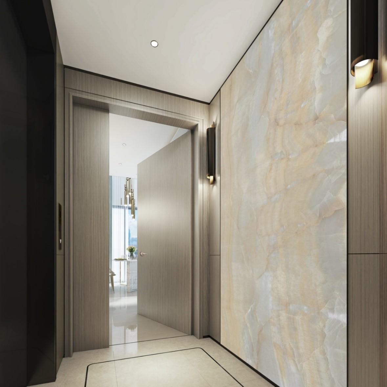 Sảnh thang máy riêng với đèn trần LED cảm biến chuyển động. Ảnh phối cảnh: Hongkong Land.
