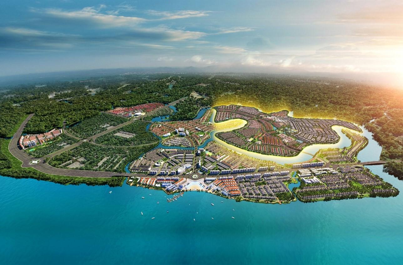 Đô thị đảo Phượng Hoàng, Aqua City thu hút sự quan tâm, tìm kiếm của khách hàng khi vừa được giới thiệu ra thị trường. Ảnh phối cảnh: Novaland.