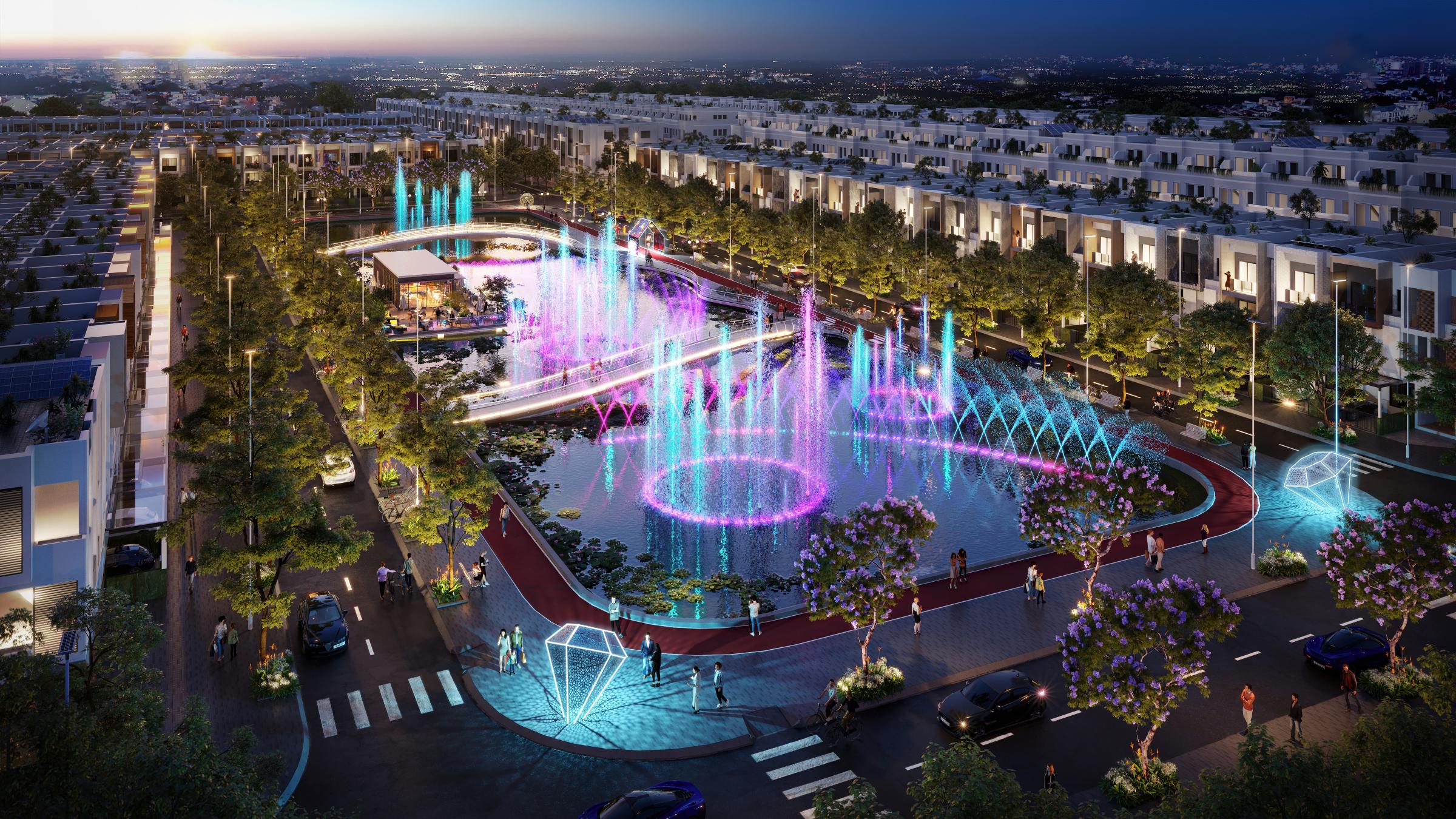 Stella Mega City với nhiều không gian xanh và hệ sinh thái tiện ích hướng đến chăm sóc sức khỏe cho cư dân. Ảnh: KITA Group.