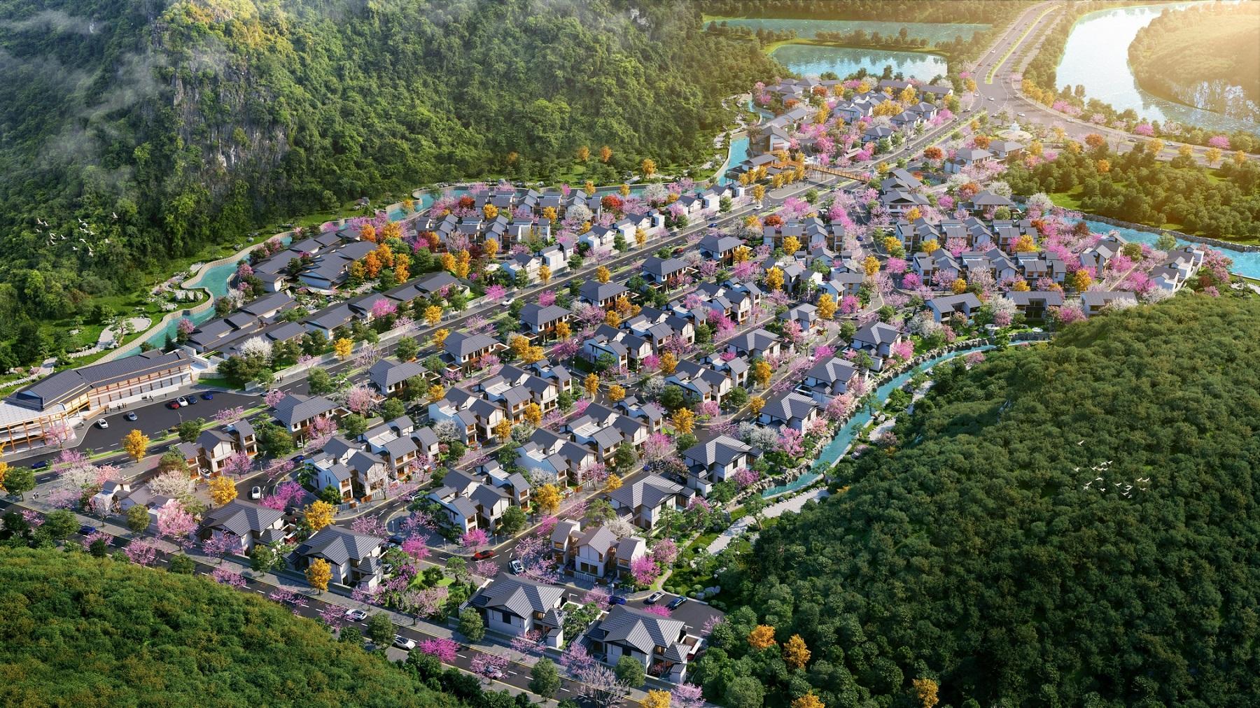 Sun Onsen Village - Limited Edition được kiến tạo nằm trong tổng thể thị trấn nghỉ dưỡng phong cách Nhật Bản. Ảnh: