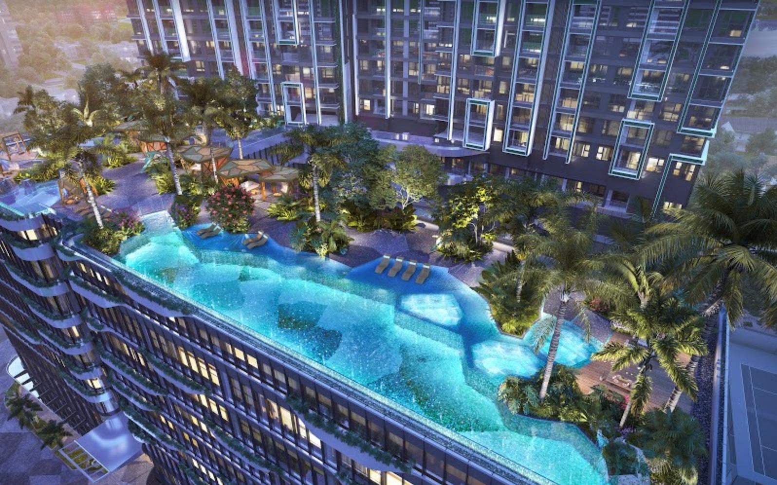 LUMIÈRE riverside và bể bơi vô cực nhìn từ trên cao. Ảnh phối cảnh: Masterise Homes.