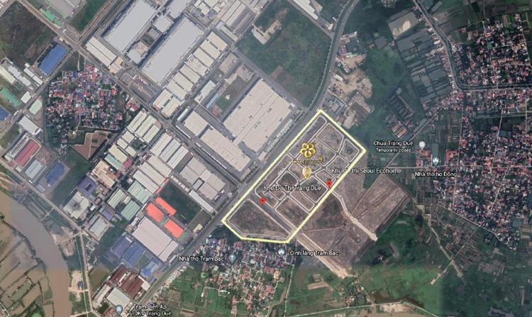 Dự án khu đô thị Seoul Ecohome nằm đối diện khu công nghiệp Tràng Duệ (quy mô 600ha).